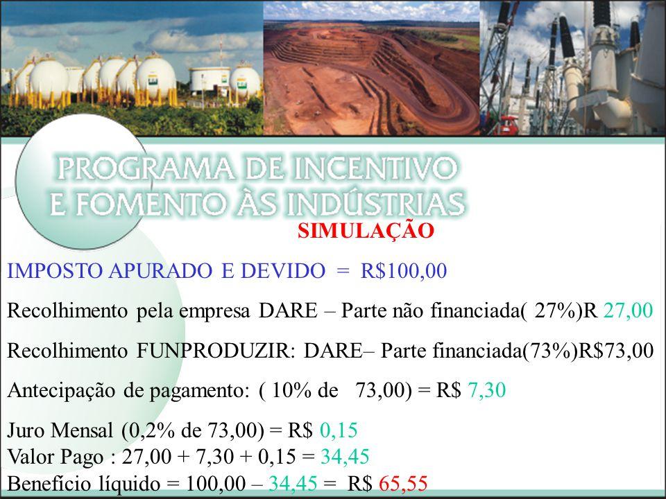 SIMULAÇÃO IMPOSTO APURADO E DEVIDO = R$100,00. Recolhimento pela empresa DARE – Parte não financiada( 27%)R 27,00.