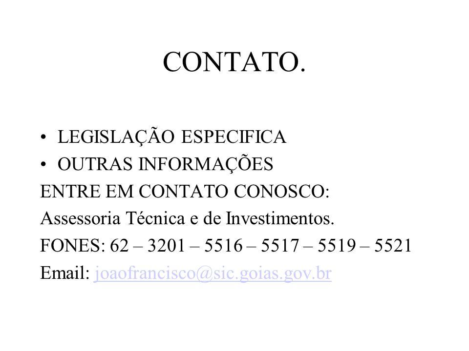 CONTATO. LEGISLAÇÃO ESPECIFICA OUTRAS INFORMAÇÕES