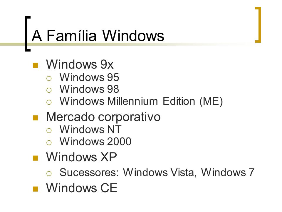 A Família Windows Windows 9x Mercado corporativo Windows XP Windows CE