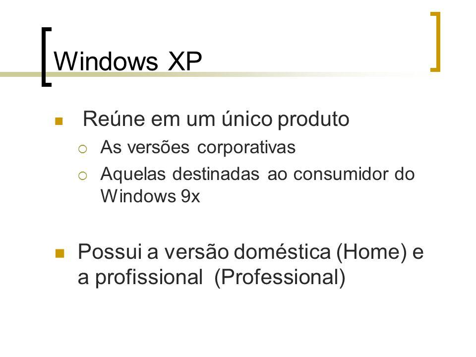Windows XP Reúne em um único produto. As versões corporativas. Aquelas destinadas ao consumidor do Windows 9x.