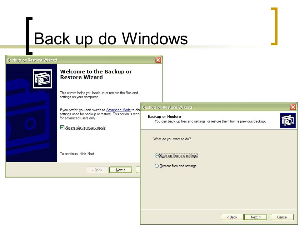 Back up do Windows