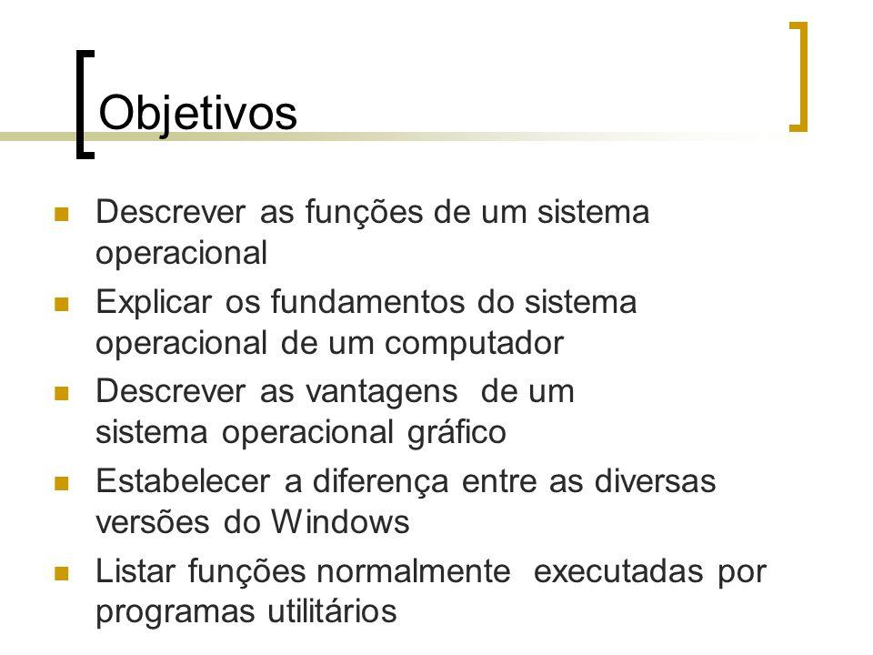 Objetivos Descrever as funções de um sistema operacional