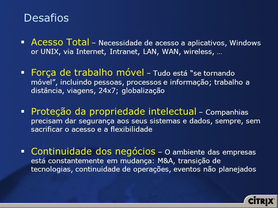 Desafios Acesso Total – Necessidade de acesso a aplicativos, Windows or UNIX, via Internet, Intranet, LAN, WAN, wireless, …