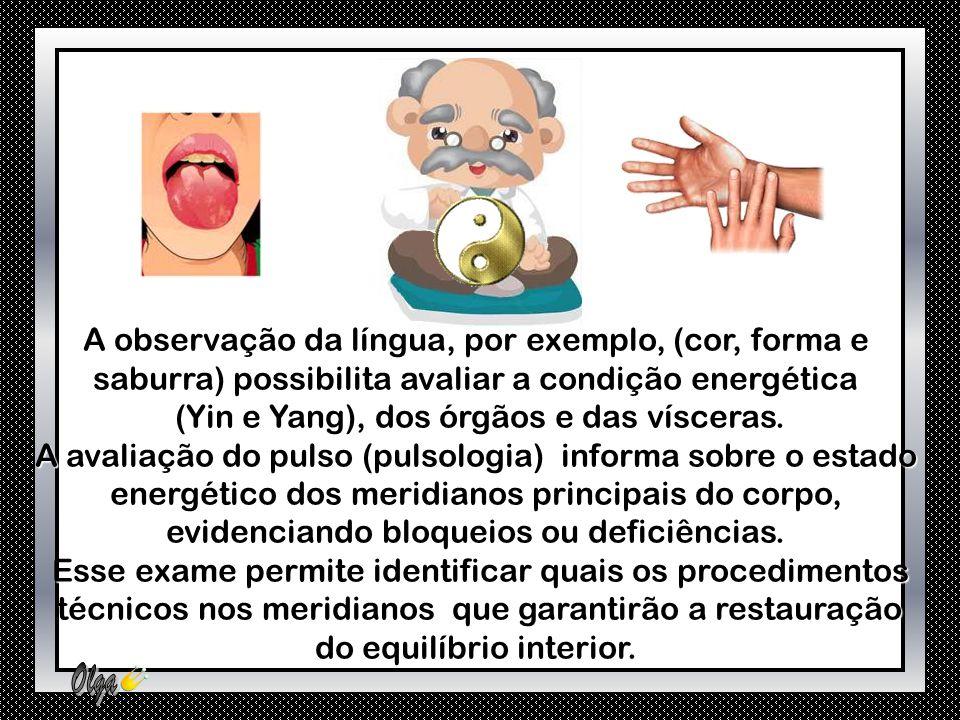 A observação da língua, por exemplo, (cor, forma e