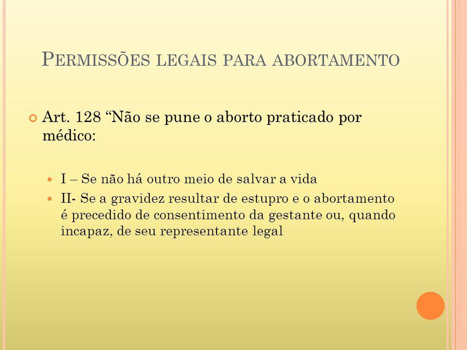 Permissões legais para abortamento