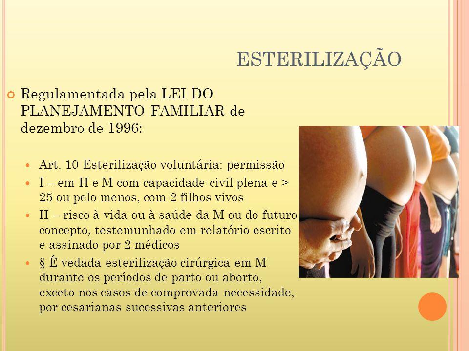 ESTERILIZAÇÃO Regulamentada pela LEI DO PLANEJAMENTO FAMILIAR de dezembro de 1996: Art. 10 Esterilização voluntária: permissão.