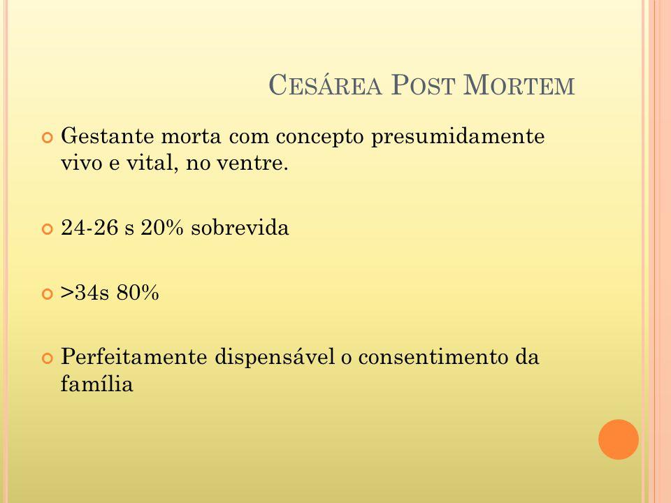 Cesárea Post Mortem Gestante morta com concepto presumidamente vivo e vital, no ventre. 24-26 s 20% sobrevida.