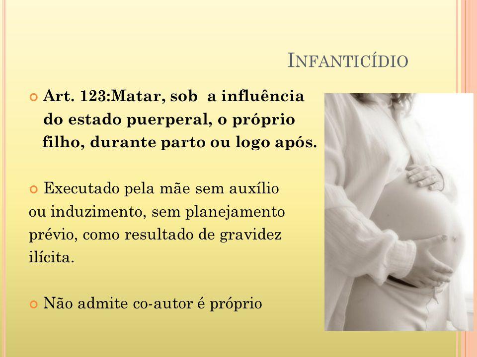 Infanticídio Art. 123:Matar, sob a influência