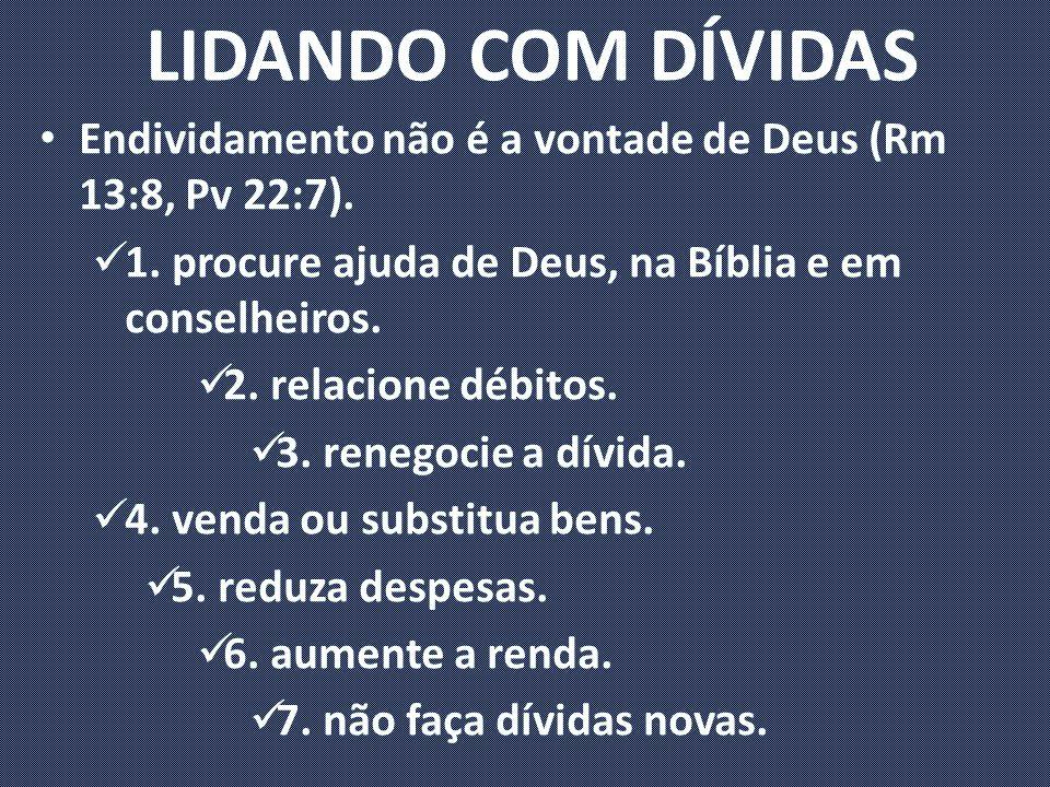 LIDANDO COM DÍVIDAS Endividamento não é a vontade de Deus (Rm 13:8, Pv 22:7). 1. procure ajuda de Deus, na Bíblia e em conselheiros.
