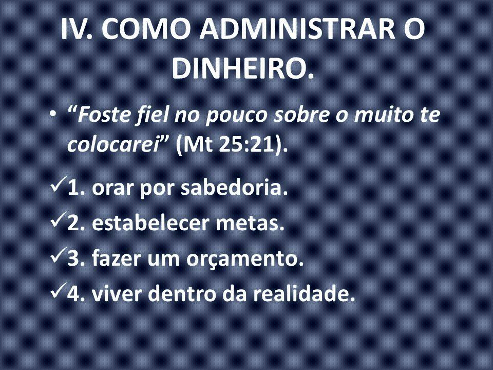 IV. COMO ADMINISTRAR O DINHEIRO.