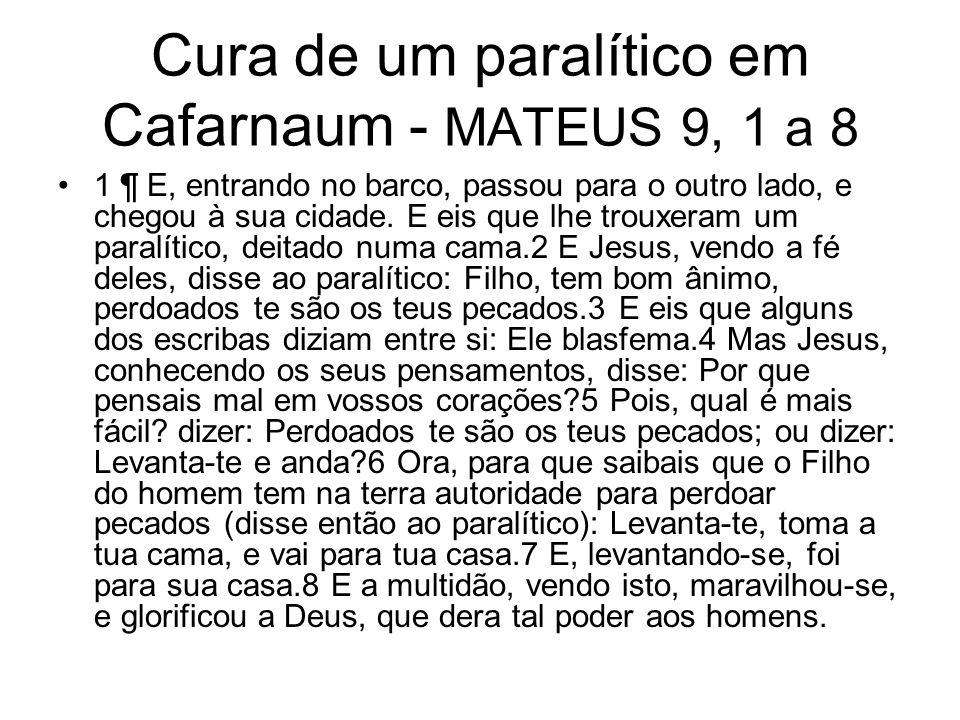 Cura de um paralítico em Cafarnaum - MATEUS 9, 1 a 8