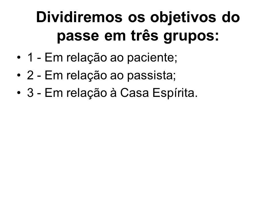 Dividiremos os objetivos do passe em três grupos: