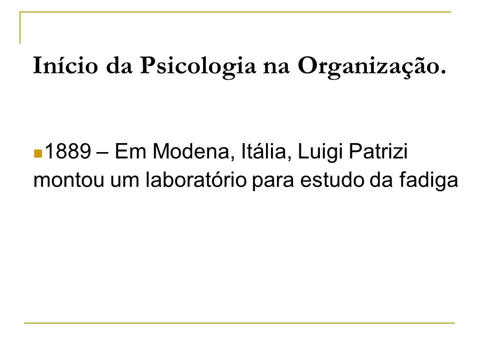 Início da Psicologia na Organização.