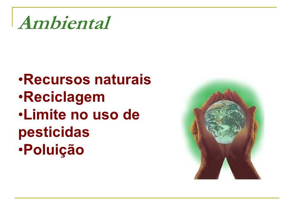 Ambiental Recursos naturais •Reciclagem •Limite no uso de pesticidas