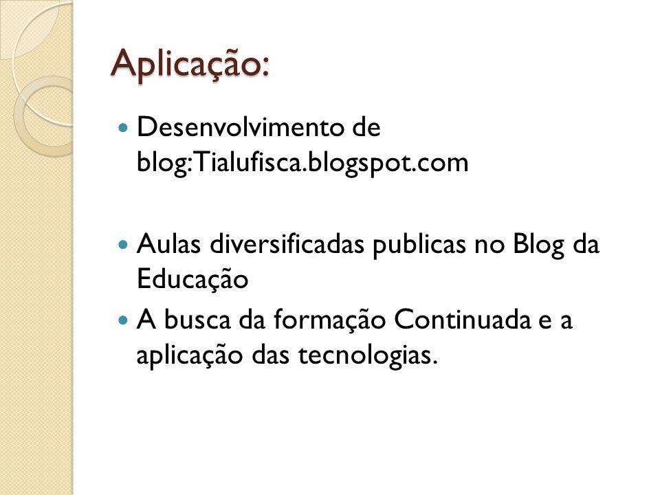 Aplicação: Desenvolvimento de blog:Tialufisca.blogspot.com