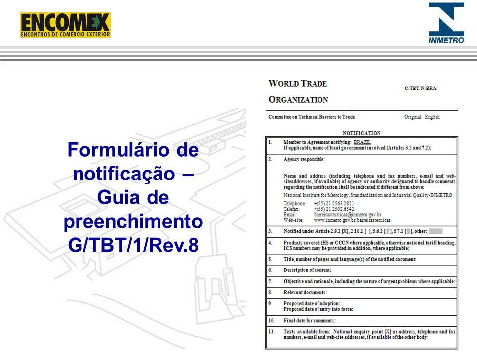 Formulário de notificação – Guia de preenchimento G/TBT/1/Rev.8
