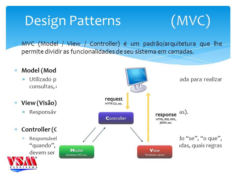 Design Patterns (MVC) MVC (Model / View / Controller) é um padrão/arquitetura que lhe permite dividir as funcionalidades de seu sistema em camadas.