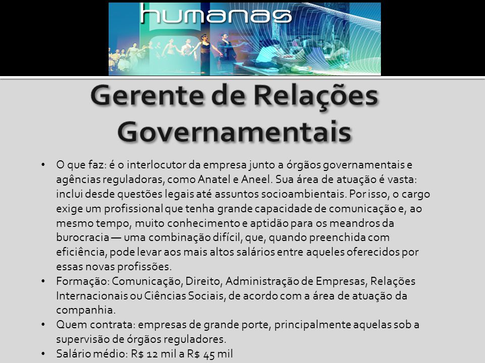 Gerente de Relações Governamentais