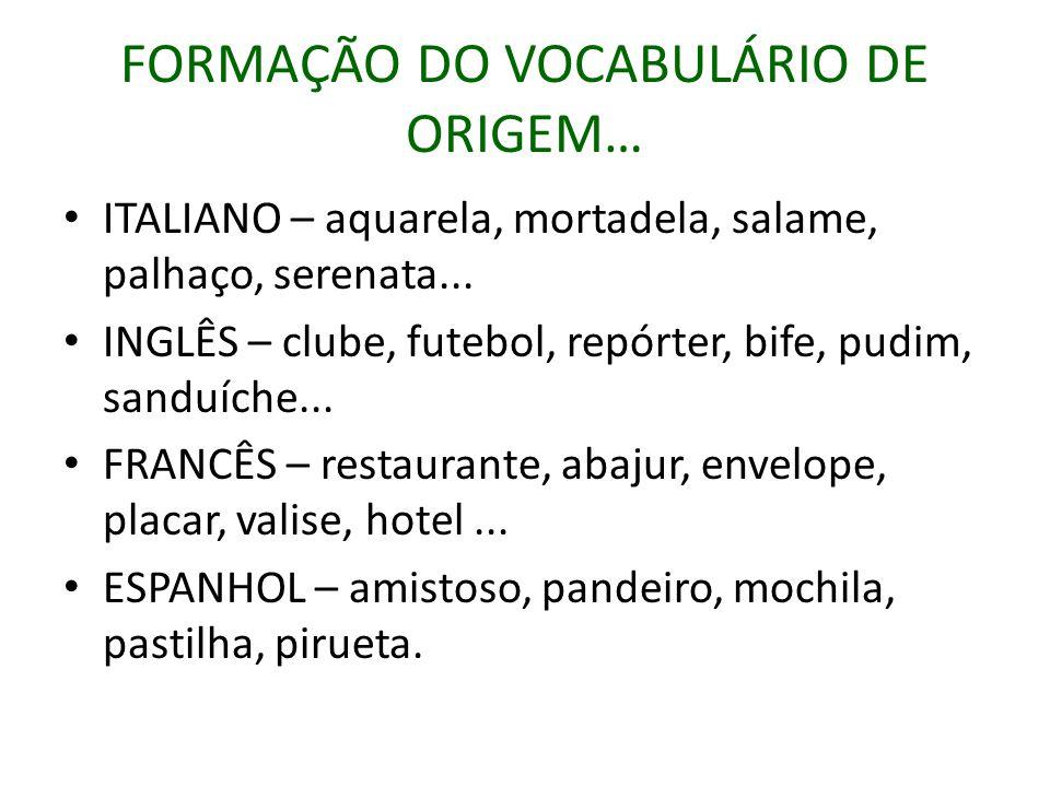 FORMAÇÃO DO VOCABULÁRIO DE ORIGEM…