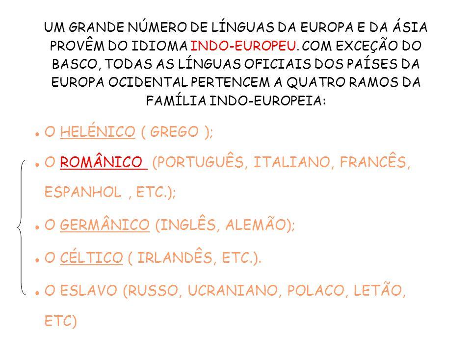 O ROMÂNICO (PORTUGUÊS, ITALIANO, FRANCÊS, ESPANHOL , ETC.);