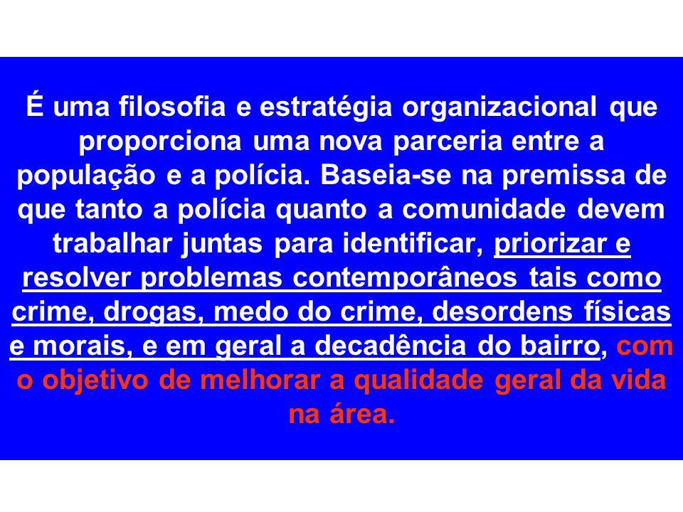 É uma filosofia e estratégia organizacional que proporciona uma nova parceria entre a população e a polícia.