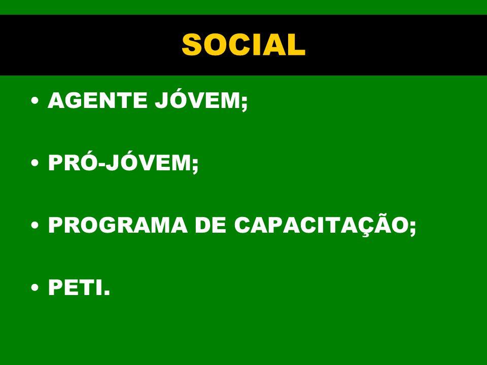 SOCIAL AGENTE JÓVEM; PRÓ-JÓVEM; PROGRAMA DE CAPACITAÇÃO; PETI.
