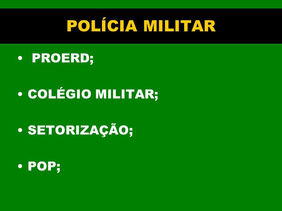 POLÍCIA MILITAR PROERD; COLÉGIO MILITAR; SETORIZAÇÃO; POP;