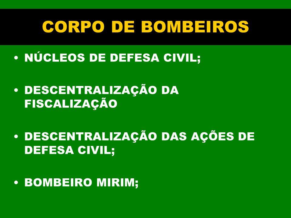 CORPO DE BOMBEIROS NÚCLEOS DE DEFESA CIVIL;