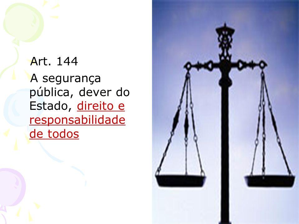 Art. 144 A segurança pública, dever do Estado, direito e responsabilidade de todos