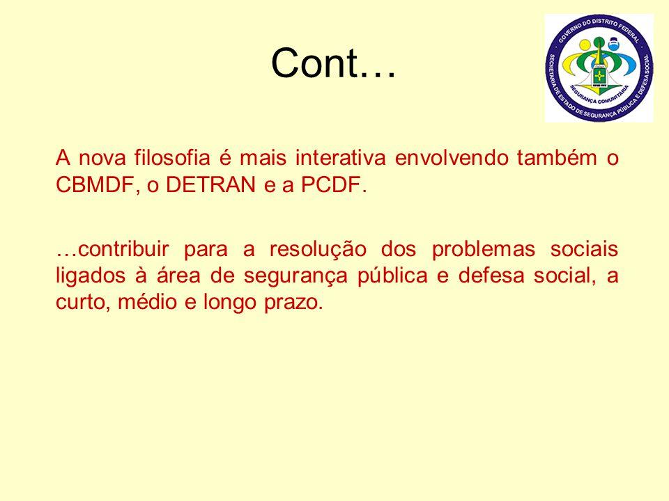 Cont… A nova filosofia é mais interativa envolvendo também o CBMDF, o DETRAN e a PCDF.