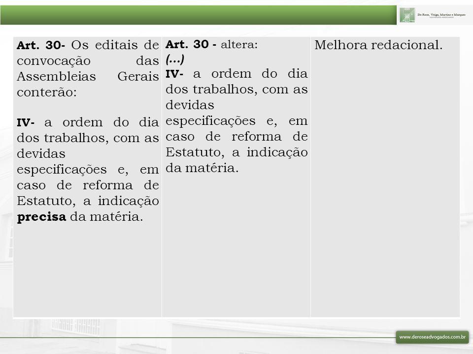 Art. 30- Os editais de convocação das Assembleias Gerais conterão: