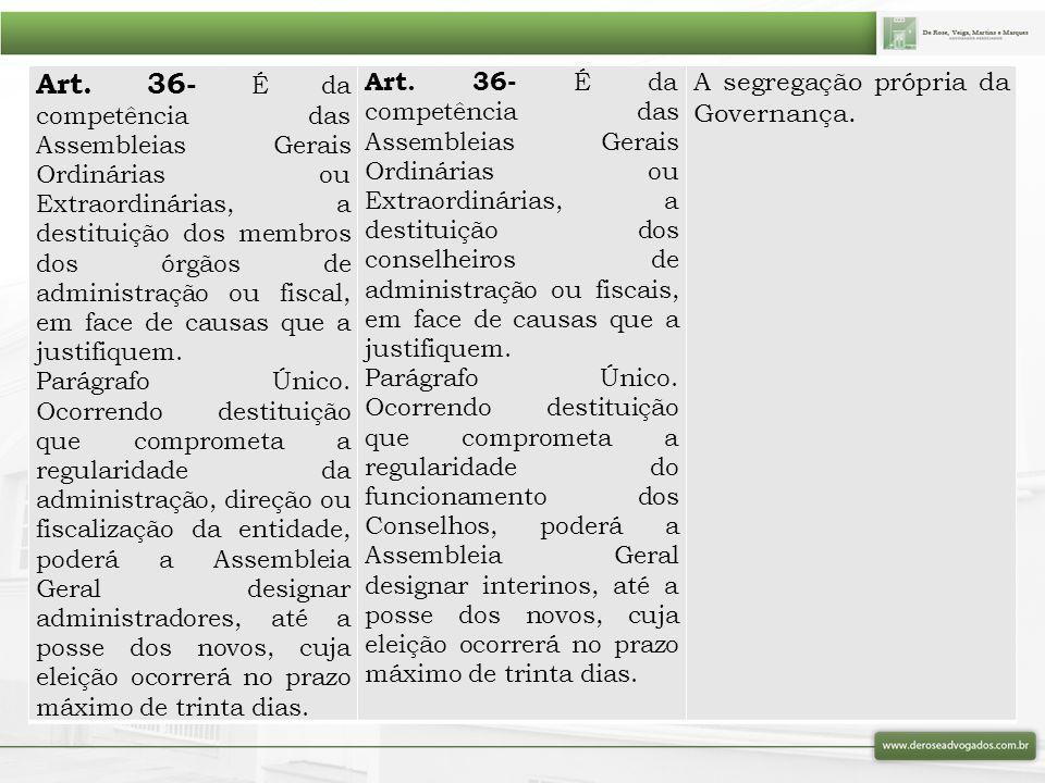 Art. 36- É da competência das Assembleias Gerais Ordinárias ou Extraordinárias, a destituição dos membros dos órgãos de administração ou fiscal, em face de causas que a justifiquem.