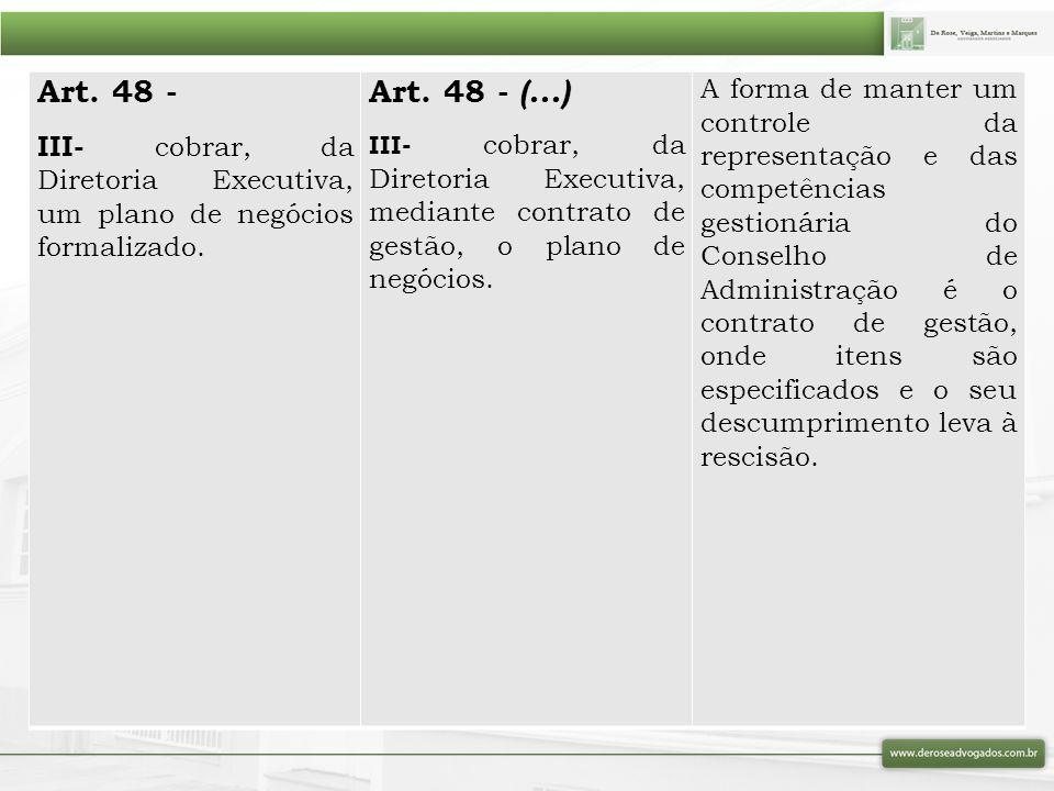 Art. 48 - III- cobrar, da Diretoria Executiva, um plano de negócios formalizado. Art. 48 - (...)