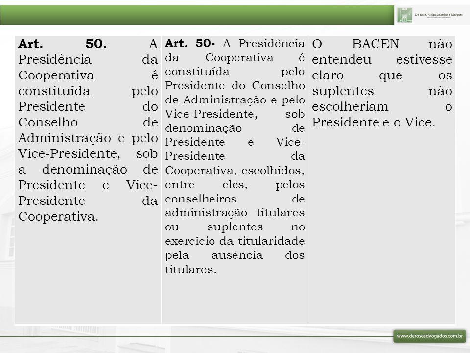 Art. 50. A Presidência da Cooperativa é constituída pelo Presidente do Conselho de Administração e pelo Vice-Presidente, sob a denominação de Presidente e Vice-Presidente da Cooperativa.