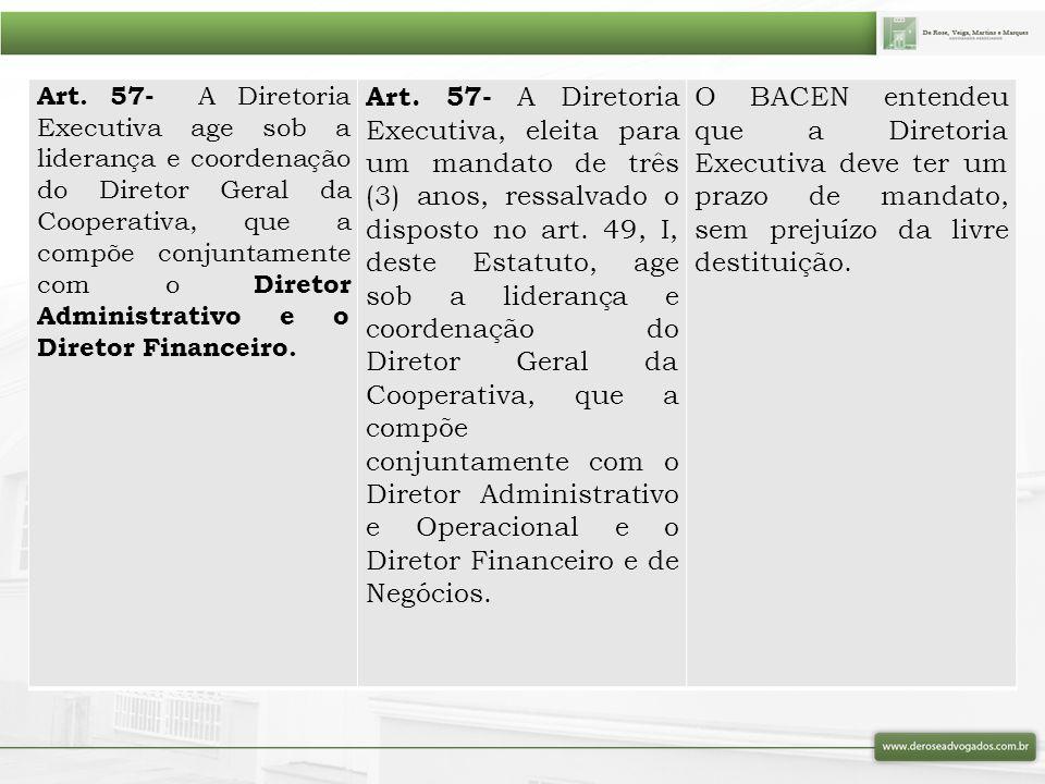Art. 57- A Diretoria Executiva age sob a liderança e coordenação do Diretor Geral da Cooperativa, que a compõe conjuntamente com o Diretor Administrativo e o Diretor Financeiro.