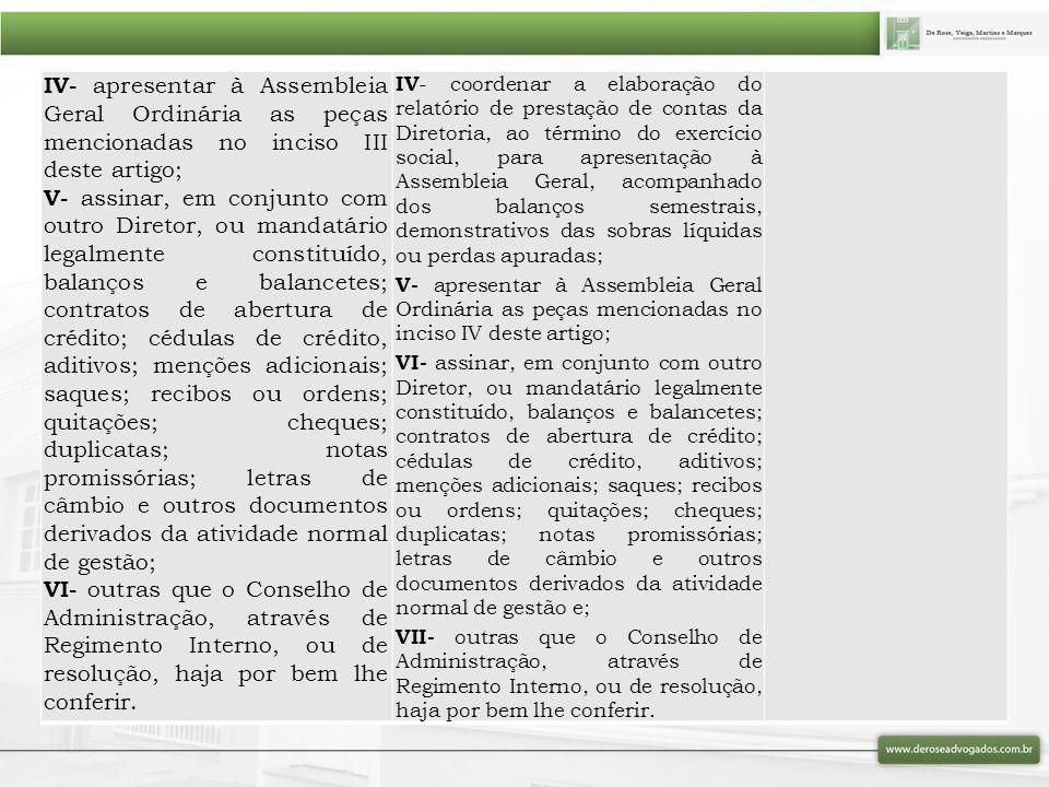 IV- apresentar à Assembleia Geral Ordinária as peças mencionadas no inciso III deste artigo;