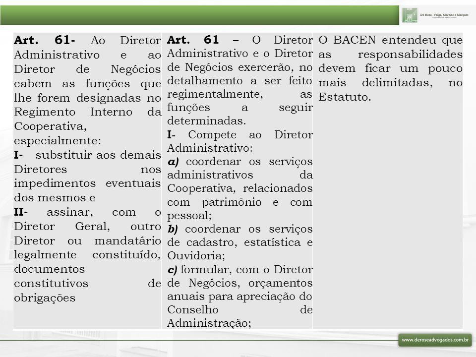 Art. 61- Ao Diretor Administrativo e ao Diretor de Negócios cabem as funções que lhe forem designadas no Regimento Interno da Cooperativa, especialmente: