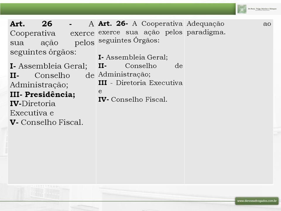 Art. 26 - A Cooperativa exerce sua ação pelos seguintes órgãos: