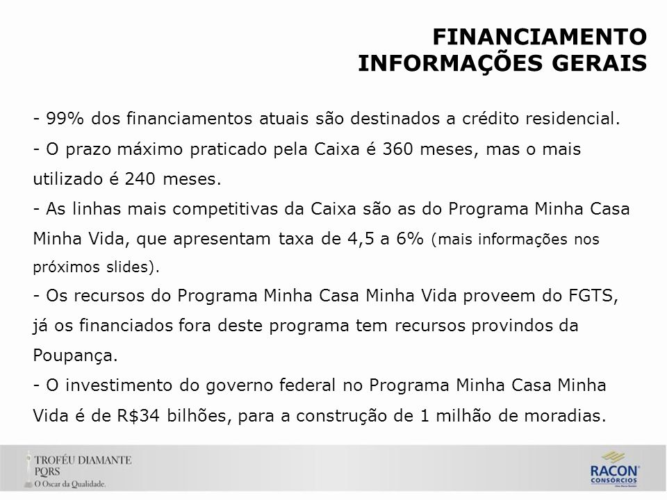 FINANCIAMENTO INFORMAÇÕES GERAIS