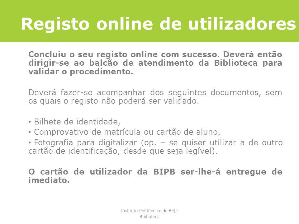 Registo online de utilizadores