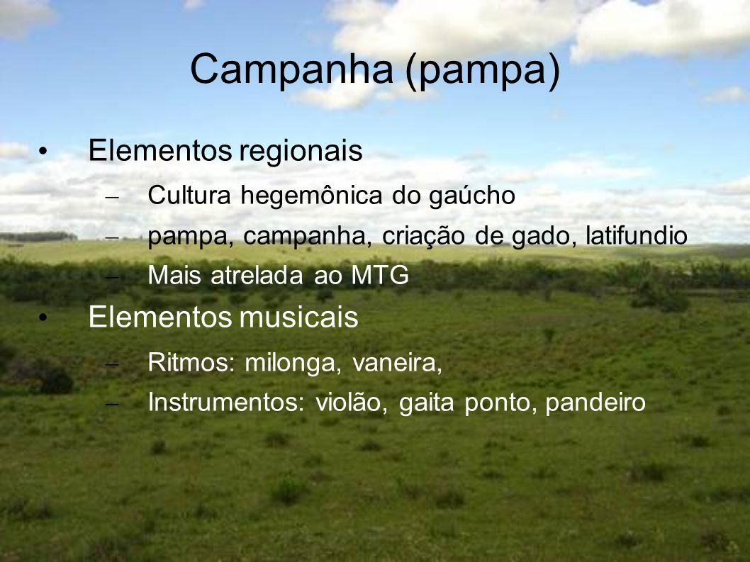Campanha (pampa) Elementos regionais Elementos musicais