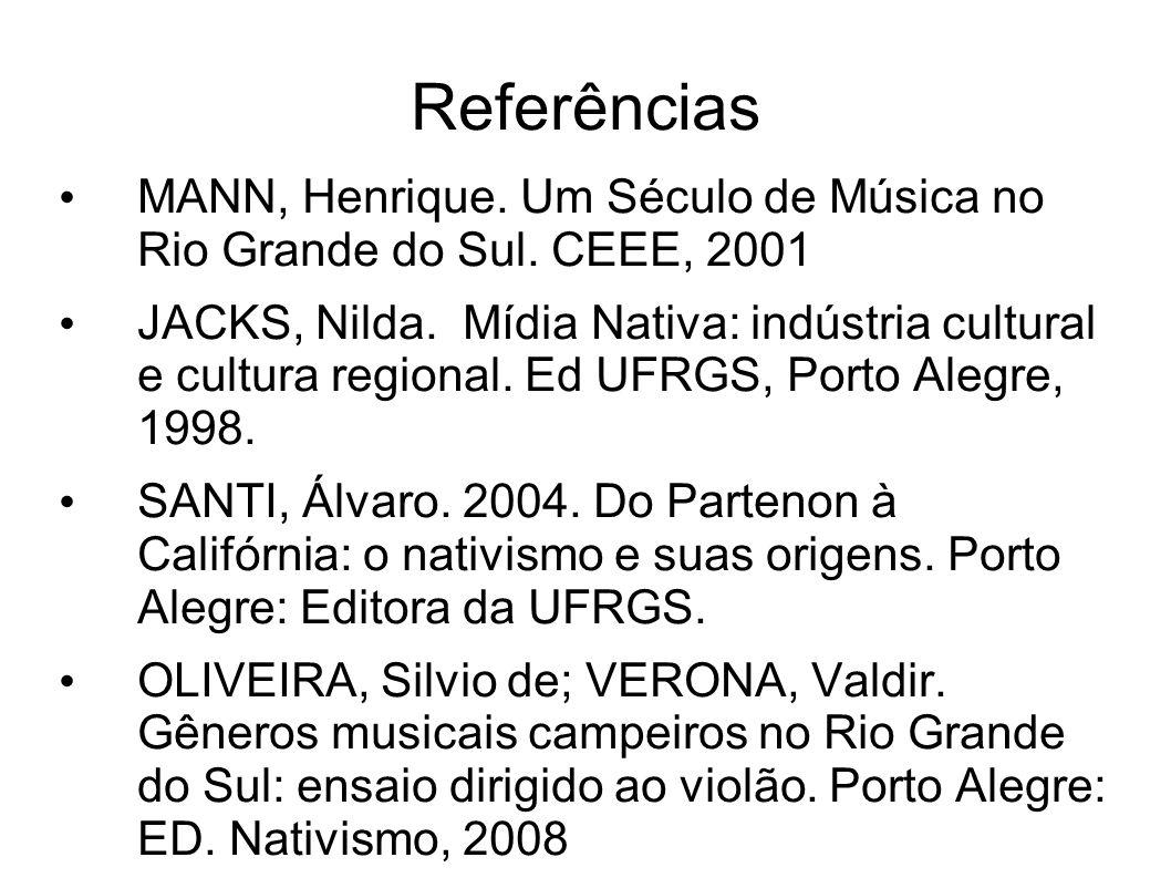 Referências MANN, Henrique. Um Século de Música no Rio Grande do Sul. CEEE, 2001.