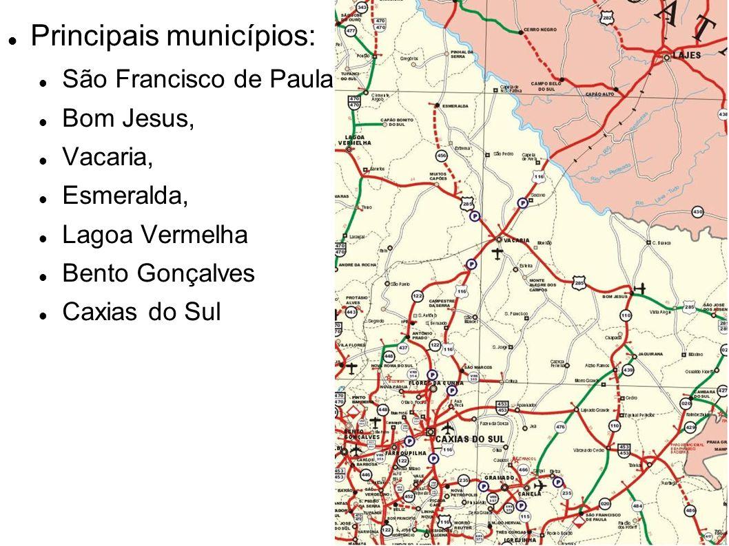 Principais municípios: