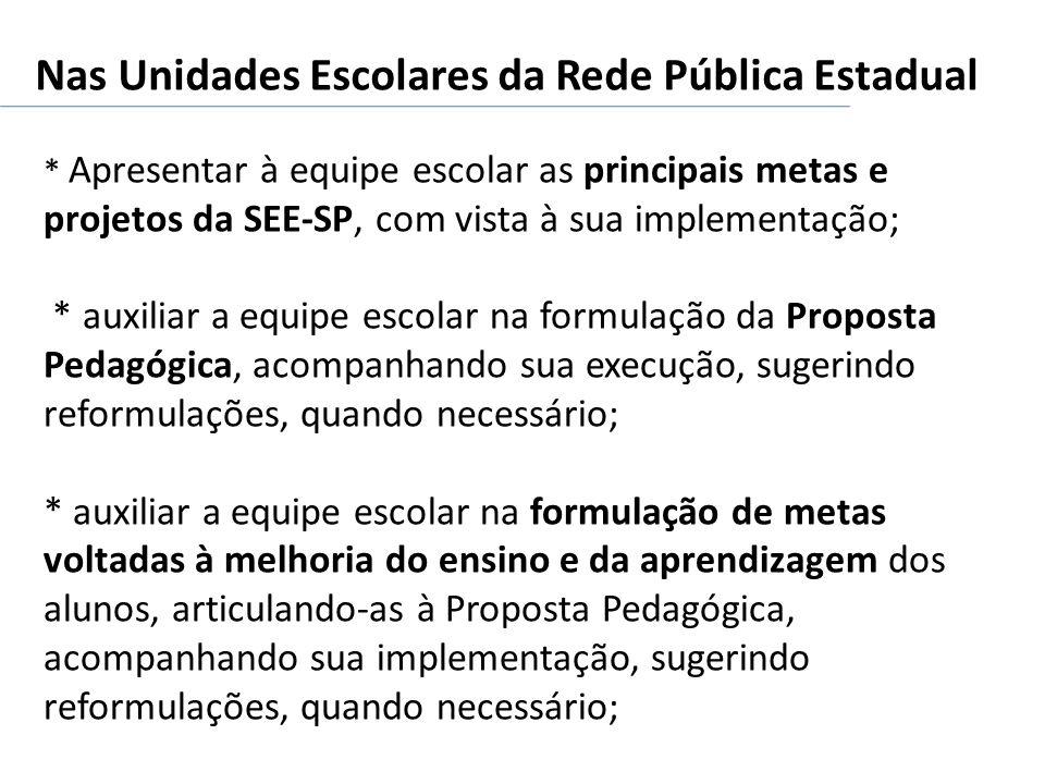 Nas Unidades Escolares da Rede Pública Estadual