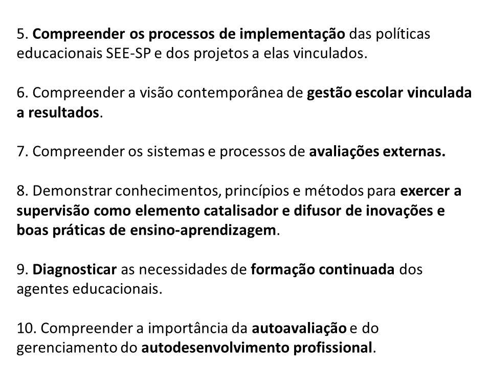 5. Compreender os processos de implementação das políticas educacionais SEE-SP e dos projetos a elas vinculados.