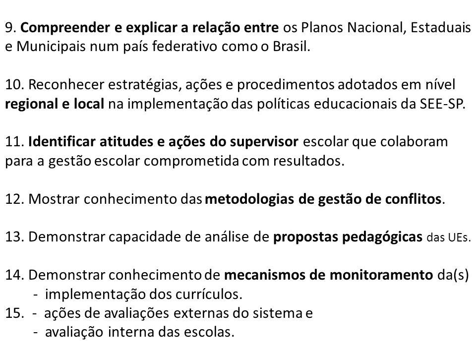 9. Compreender e explicar a relação entre os Planos Nacional, Estaduais e Municipais num país federativo como o Brasil.