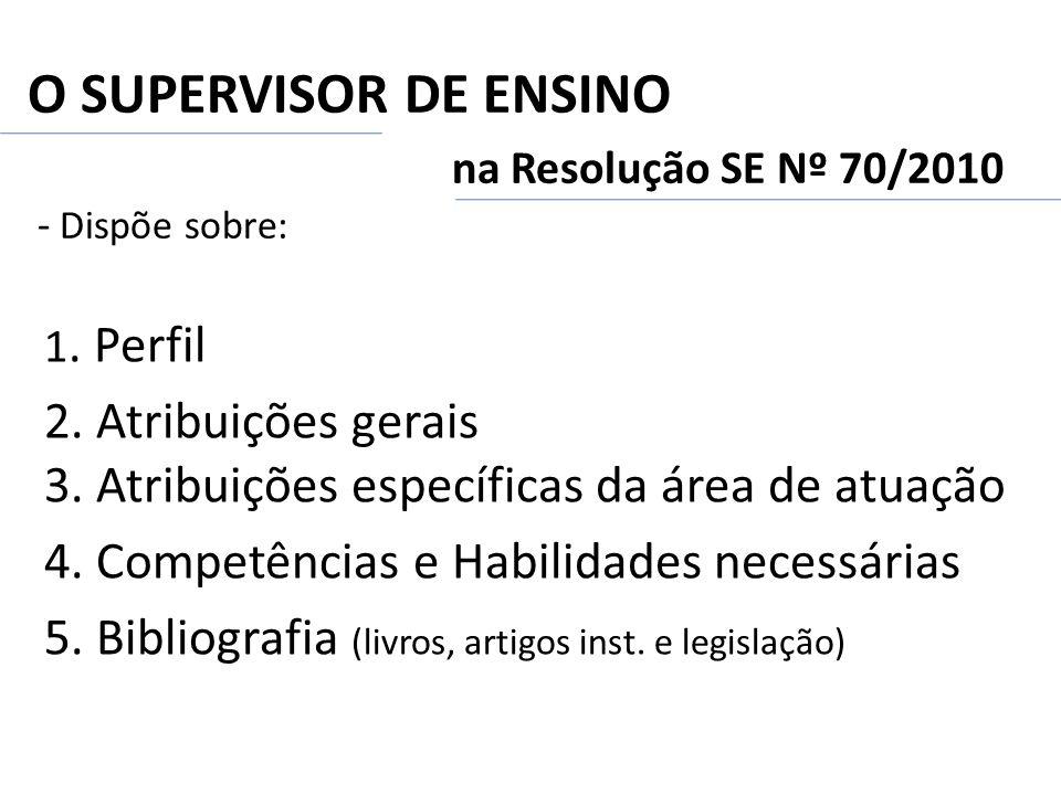 O SUPERVISOR DE ENSINO na Resolução SE Nº 70/2010 - Dispõe sobre:
