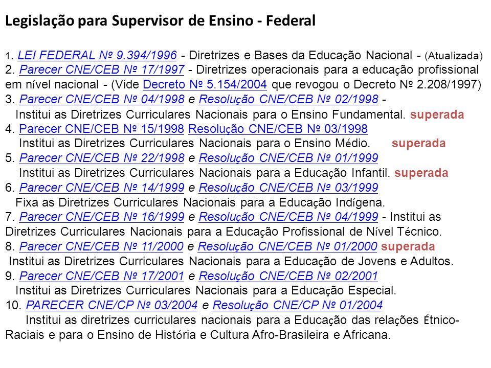 Legislação para Supervisor de Ensino - Federal