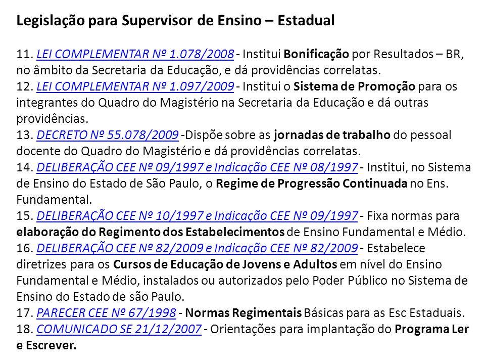 Legislação para Supervisor de Ensino – Estadual