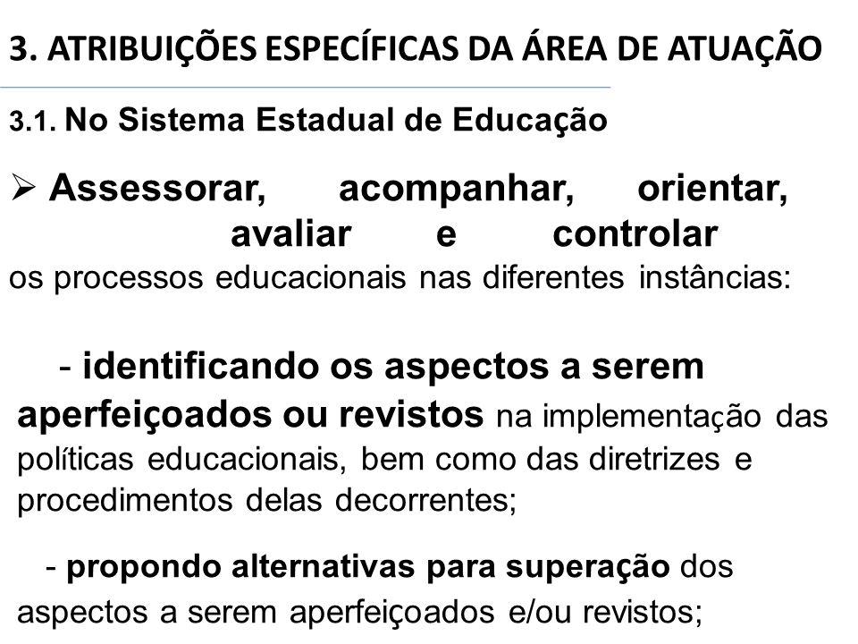 3. ATRIBUIÇÕES ESPECÍFICAS DA ÁREA DE ATUAÇÃO